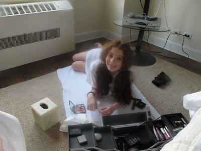 The spoils of war. Lucy attacking my make-up case.