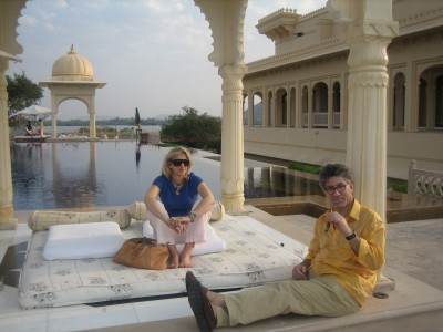 doing what he loves, india with me and a cigar!