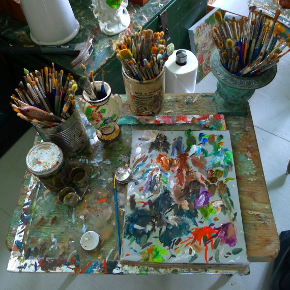 I can never visit an artists studio without taking a shot of their palette. Edie doesn't just paint with bright colors she lives harmoniously with them.
