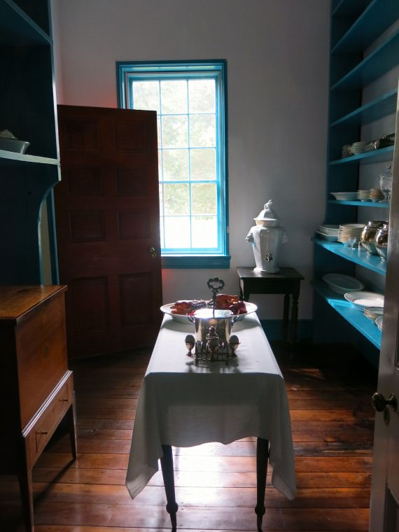 The Pantry right off the dining room. The kitchen is a bit further away as they were back then.