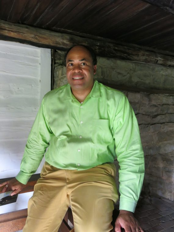 David Ewing sitting in his ancestor's slave cottage. He is at peace here. David is an amazing soul.