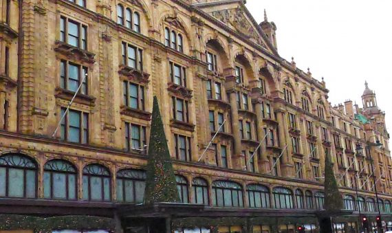 I went and took a photo of Harrods Christmas tress without actually having to go into Harrods.