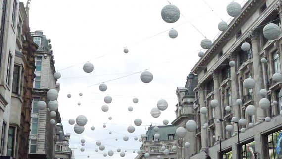 Oxford Street had these white balls hanging above it.