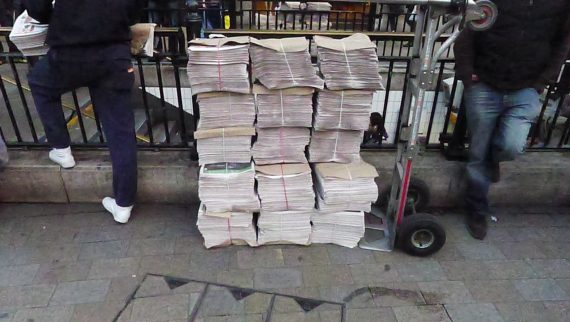 How often do you see big stacks of newspapers anymore?
