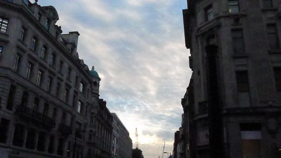 When I came out the sky was turning that lovely English blue/gray.