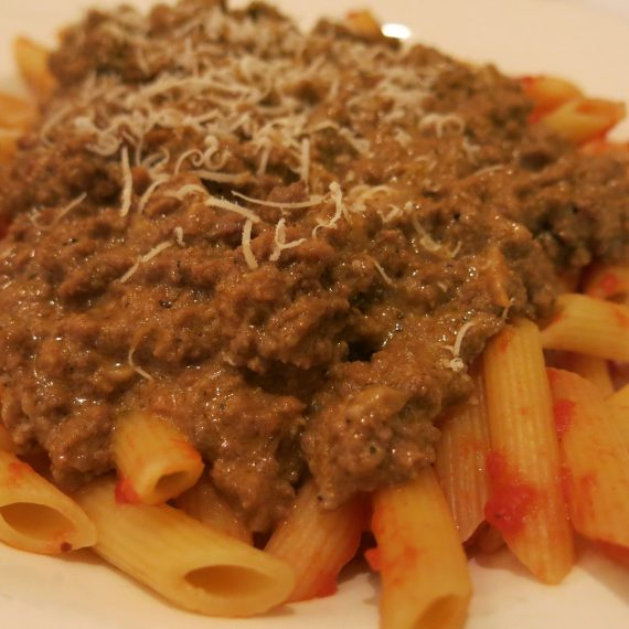 Lucy swears this is the best penne Bolognese in the world.