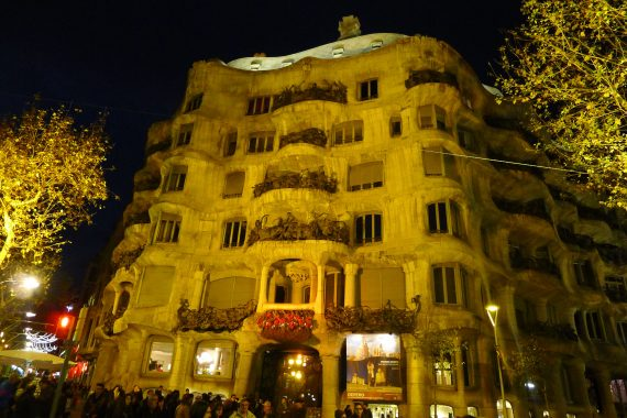 We headed back to near our hotel and walked around there.  This is Gaudi's Casa Milia. It is used as a concert space, it has stores and a restaurant. It was closed when we got there. This is without a flash at night.