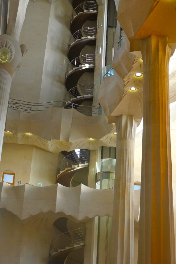 Another corner of the Church. A  very modern staircase.