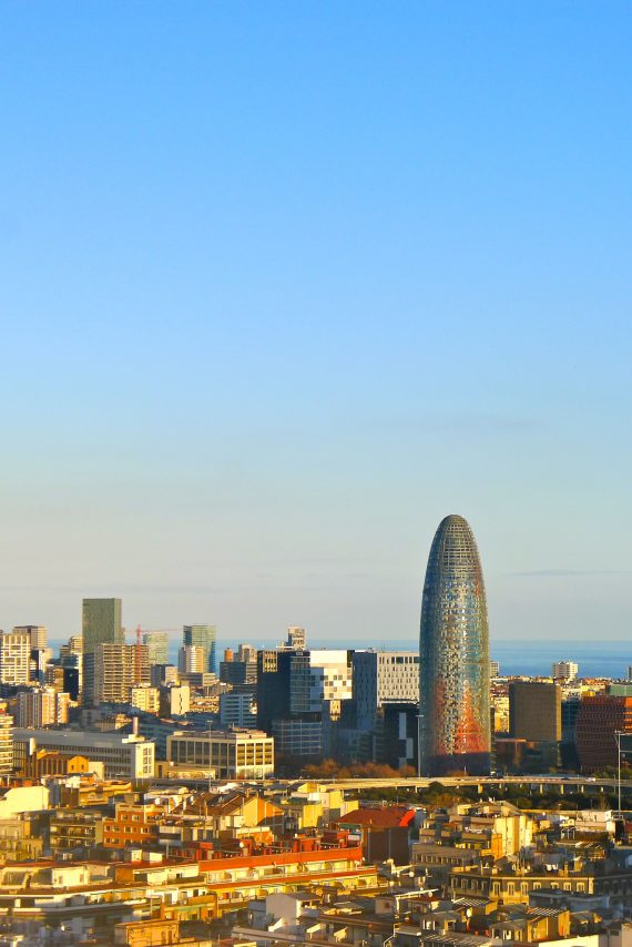 Looking out over Barcelona. The phallic building is an office designed by Jean Nouvel.