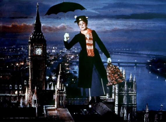 Mary Poppins flying in to save Mr. Banks.