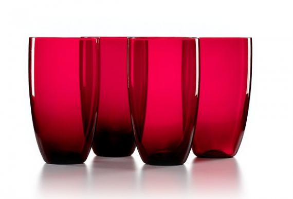 To pour that Johnny Walker in how about some red highball glasses. These are from Macys.