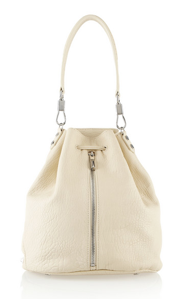 Carry this Elizabeth and James white hobo bag with a black coat. It works.