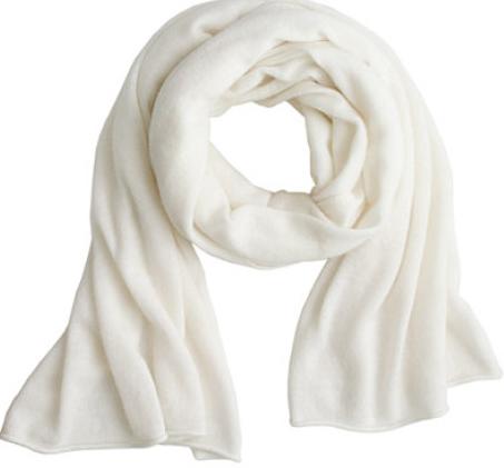 A whisper of white cashmere to wrap around your neck. Shoes and scarf - J.Crew.