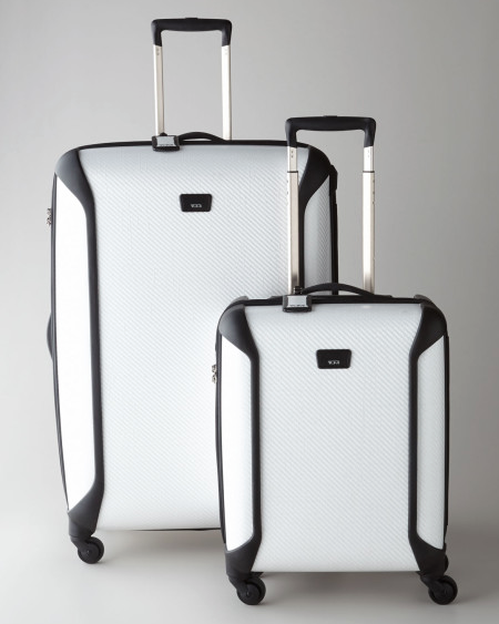 There is a shop on our corner that sells this Tumi white luggage. It looks so good to me. So clean. Of course on trip and it would be gray. But it looks great new.
