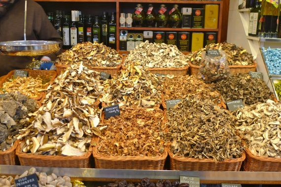 Mountains of dried mushrooms at the market.