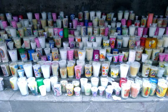 Candles brought and left.