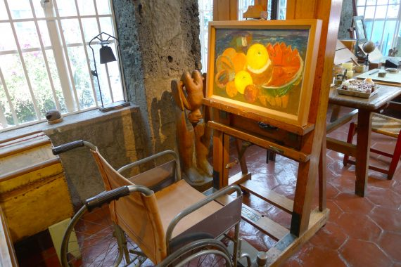 Her easel given to her by Nelson Rockefeller. She painted from the wheelchair.