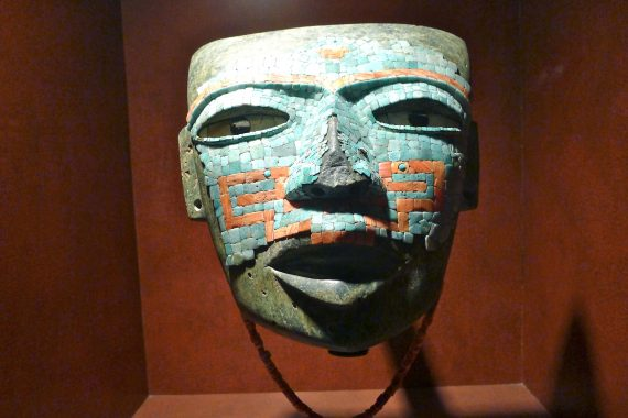 Mask carved from volcanic stone covered in turquoise. Dates back to 650 AD.