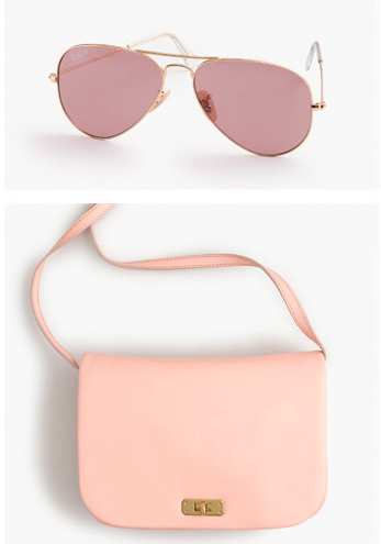 Life through rose color aviators or a small cross body in pale pink. Both from J. Crew.