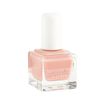 A little pale pink on the end of your fingers. Ten Over Ten for J. Crew.