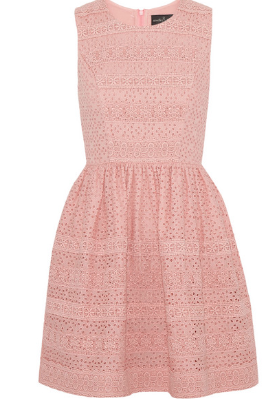 A less pricey version of the same thing. But I fear I have forgotten from where. Go to Polyvore and type in pink lace dress. It might come up.