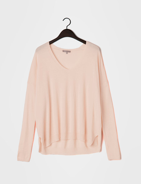 If nothing else a little feathery pale pink sweater to wear as the seasons change. VINCE.