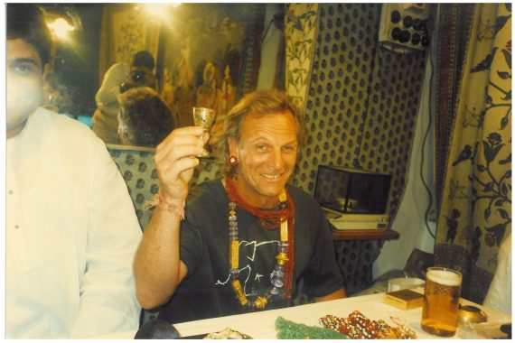 One magical night we went to the famous Gem Palace in Jaipur. Mannu, who owned it, who is sadly gone as well brought out everything he had. We spend ours trying on millions of dollars of jewels. Here is Mark decked out.