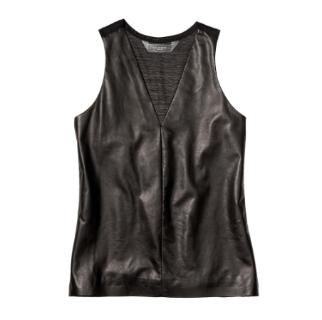 I can wear this Reed Krakoff leather top with most of my things.