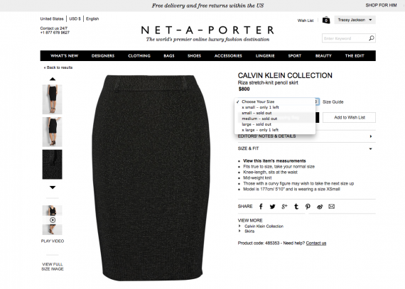 How the skirt appears on the site.
