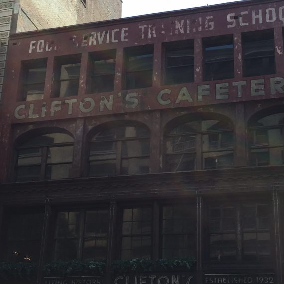 Cliftons Cafeteria which has been in the news a lot lately. It is supposed to open soon. it does not look like it's in any danger of doing so. I have heard about Clifton's since I was a little girl.