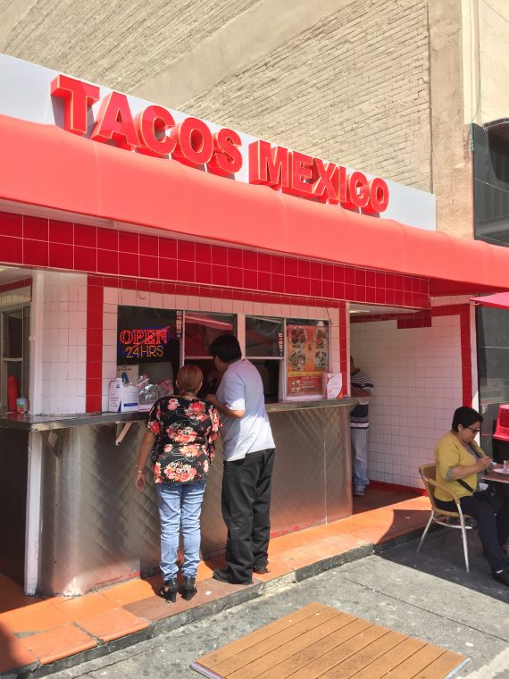 This taco place is next door to the parking lot you should park in. I wanted to try one. Glenn said later. There was no later. Next time.