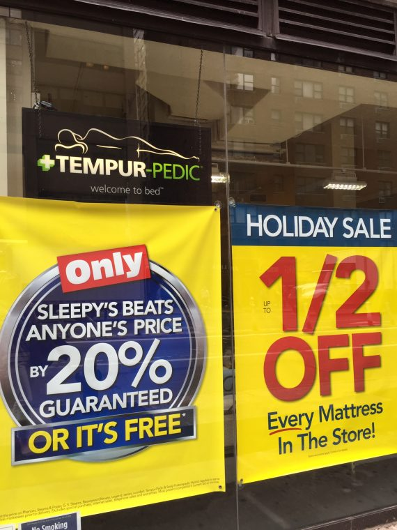 On the way home I passed Sleepys. Can't beat em. And they were having a sale.