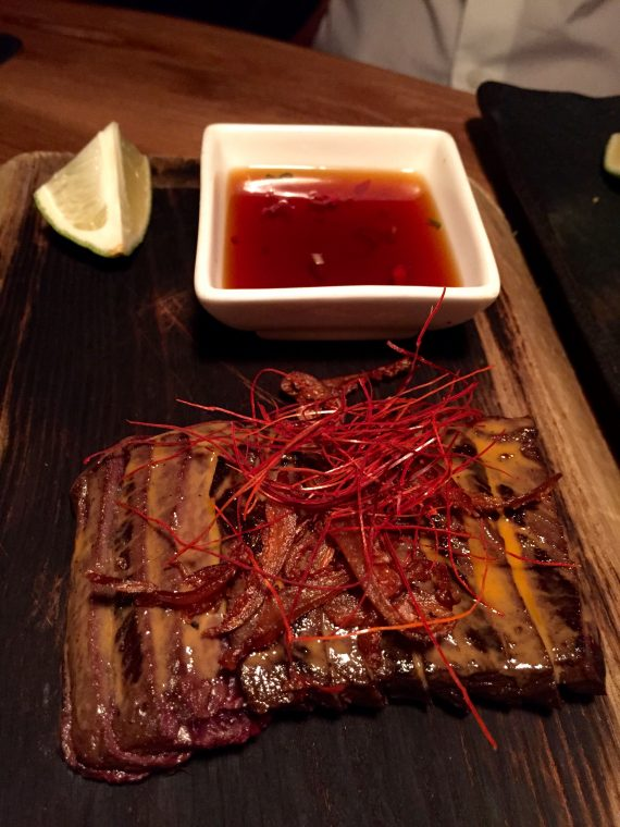 This is grilled Minke whale meat. I did not like it. Glenn loved it. I don't like eating whales. Apparently the Minkes are not endangered.