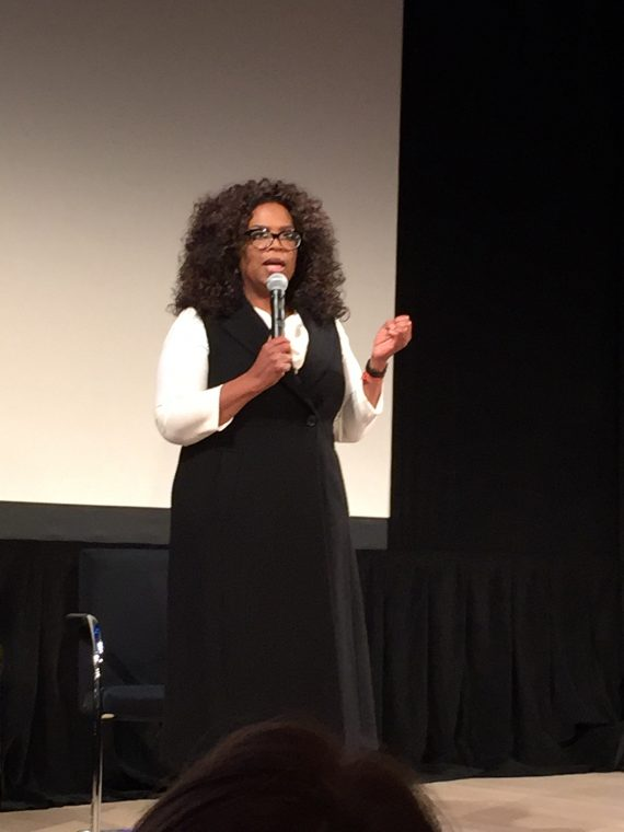 Oprah introducing the film.