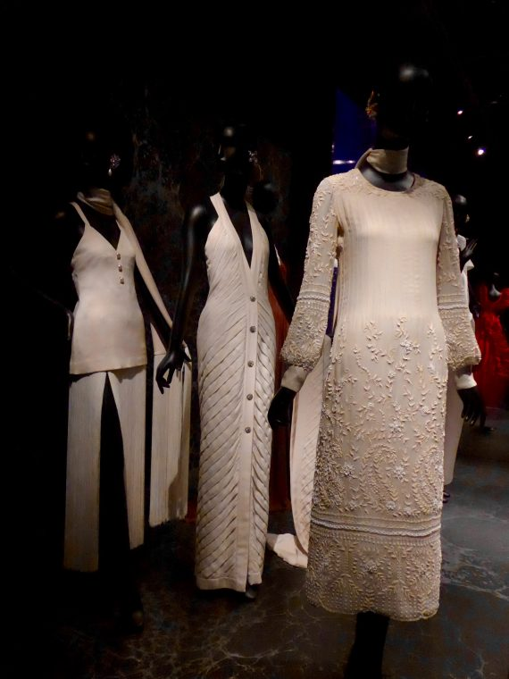 This white series is something else. The two long ones are her own designs. The lace one is Valentino.