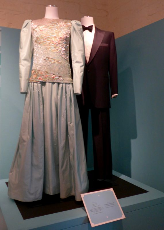 This Luis Esteves gown was donated by Anne Douglas. the tuxedo belonged to Kirk Douglas.