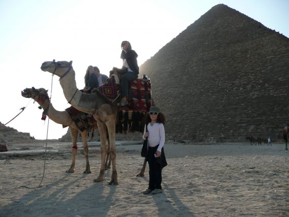 When I think of our family trips this photo is the one I think of first. Lucy was afraid to climb on the camel. I have a photo of my grandmother in exactly same place. Today one would not go to Egypt. I wouldn't.