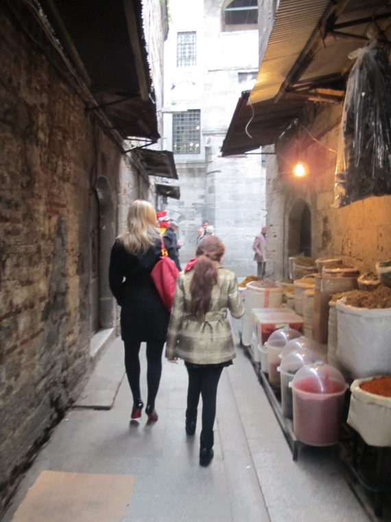The girls heading into the Souk in Istanbul.