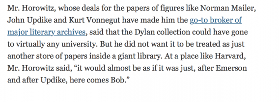 Glenn sold Bob Dylan's archive. Which was a big deal.