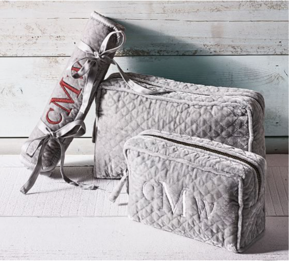 Pottery Barn crushes it with these crushed velvet monogramed make up and travel bags. Love this. Pottery Barn