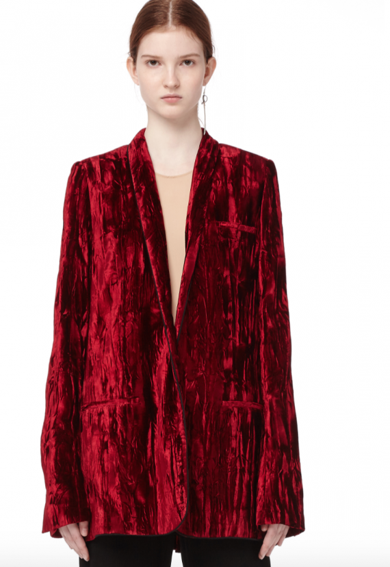 I kind of love this cranberry colored crushed velvet jacket from Haider Ackerman