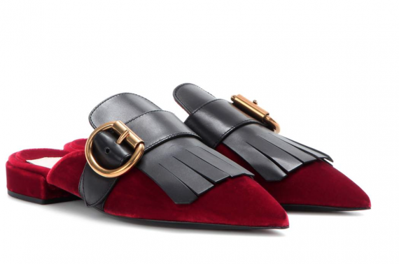 These fringed velvet slippers kind of lasso all of this seasons fashion trends into one chic item.